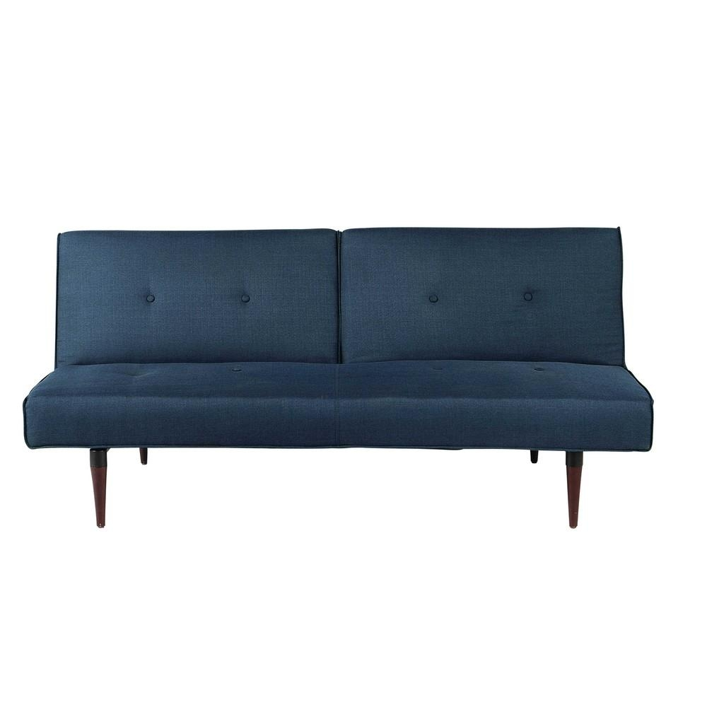 Midnight Blue 3 Seater Clic Clac Sofa Bed Trendy | Maisons Du Monde Throughout Clic Clac Sofa Beds (Image 14 of 20)