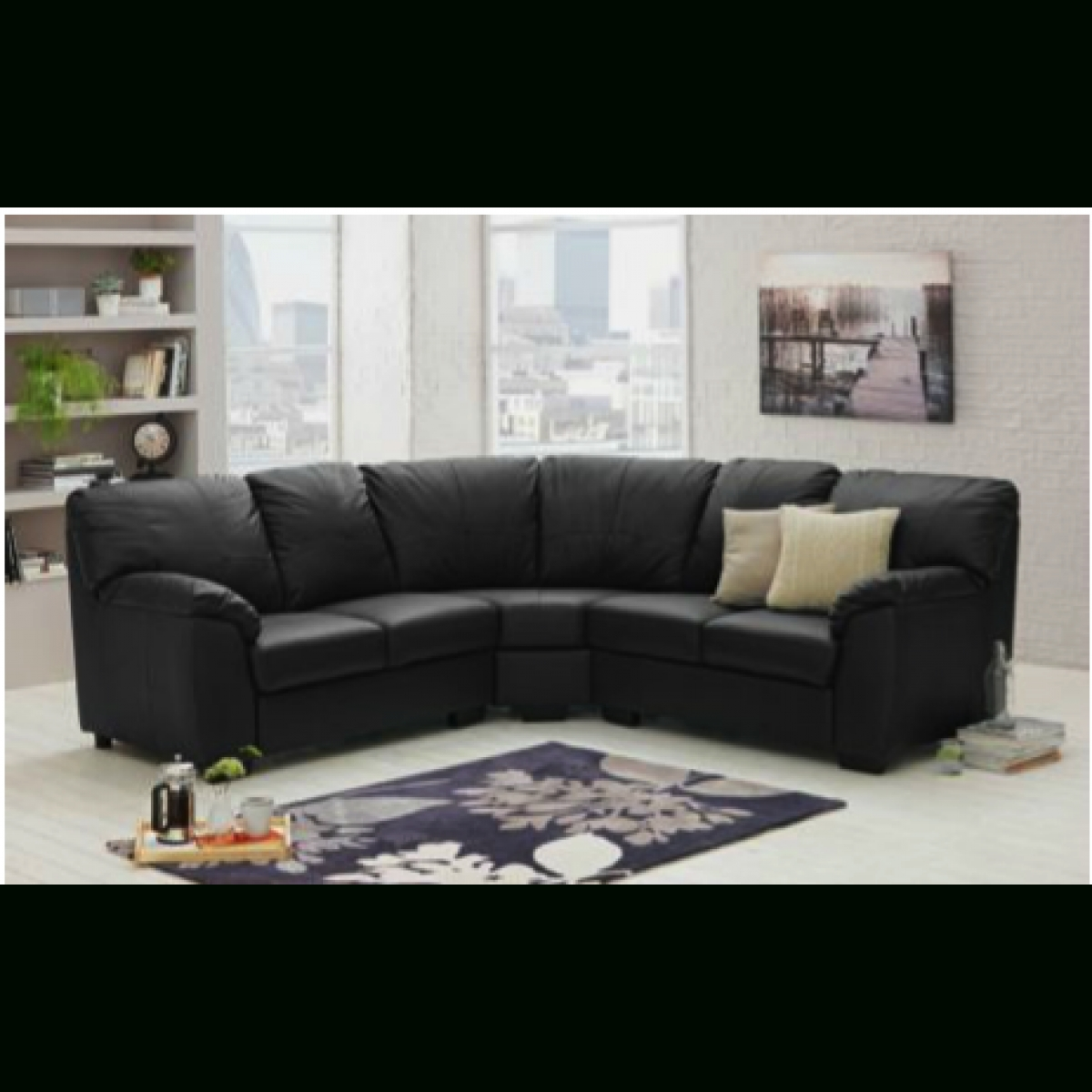 Milano Leather Dual Facing Corner Sofa Group – Black – Furnico Village Inside Black Corner Sofas (Image 14 of 20)