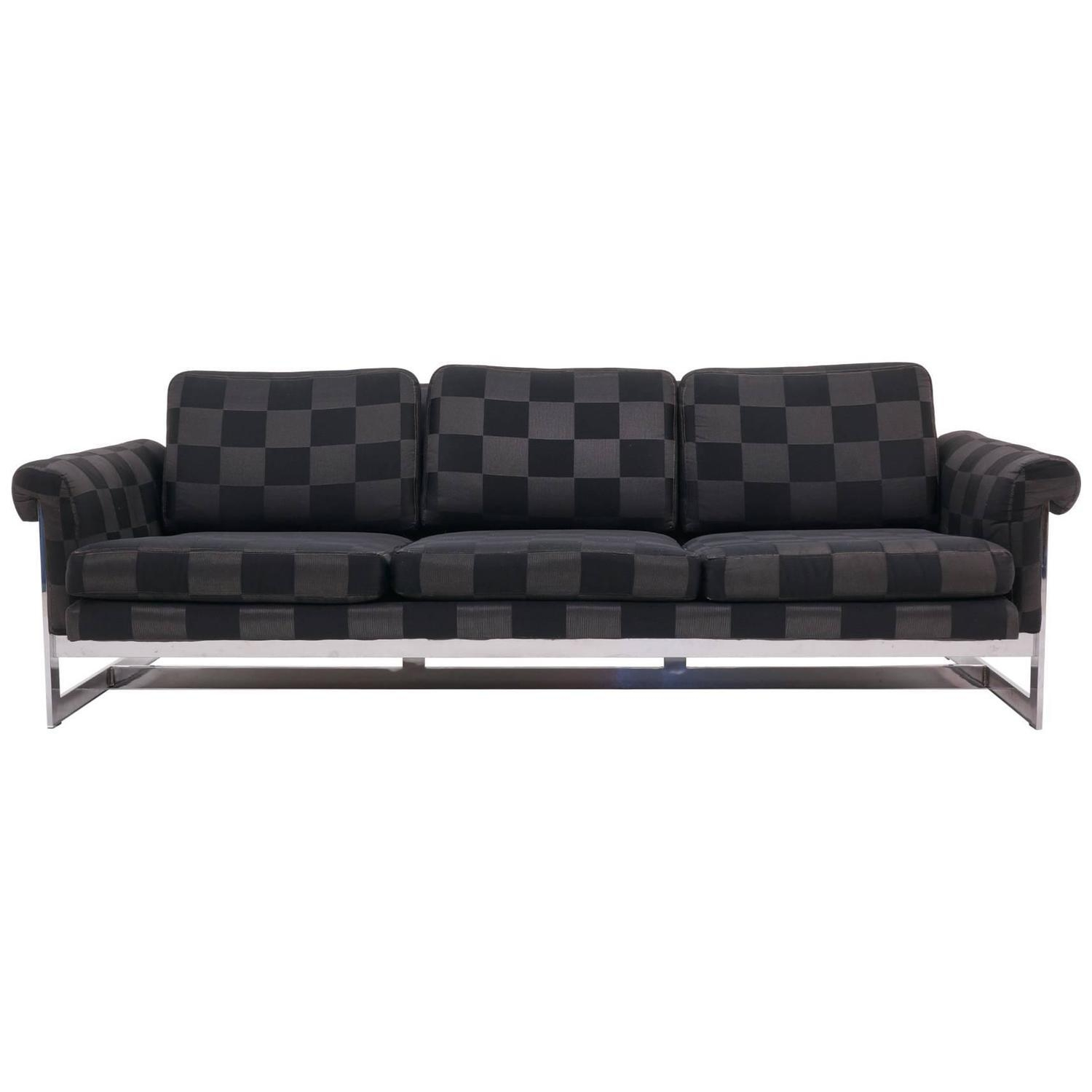 Milo Baughman For Thayer Coggin Black Vinyl Sofa, 1960S At 1Stdibs Within Black Vinyl Sofas (Image 14 of 20)