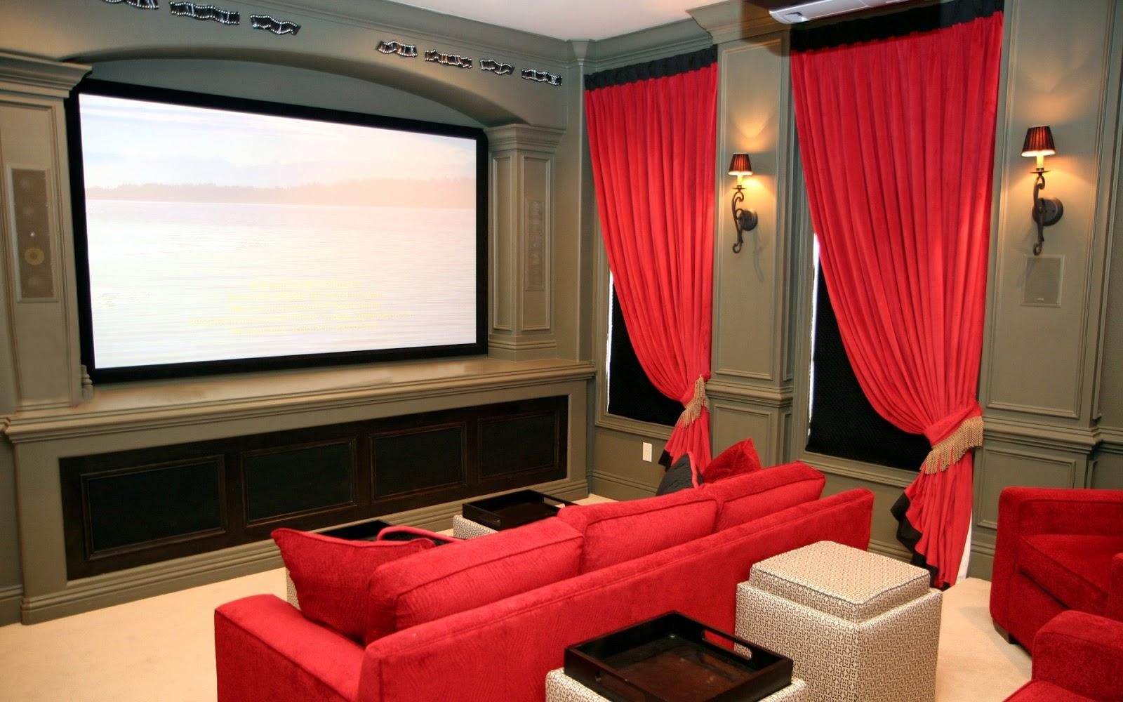 Minimalist Entertainment Room With Black Leather Couch And Black Regarding Theater Room Sofas (Image 16 of 20)