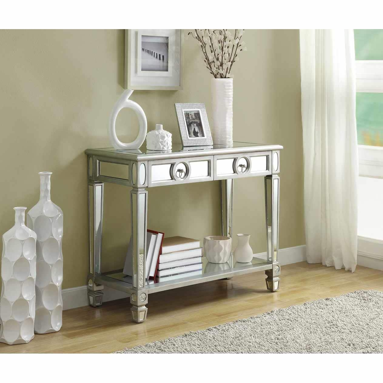 Mirrored 38 Inch Sofa Console Table With Two Drawers – Free Within Sofa Table Drawers (Image 10 of 20)