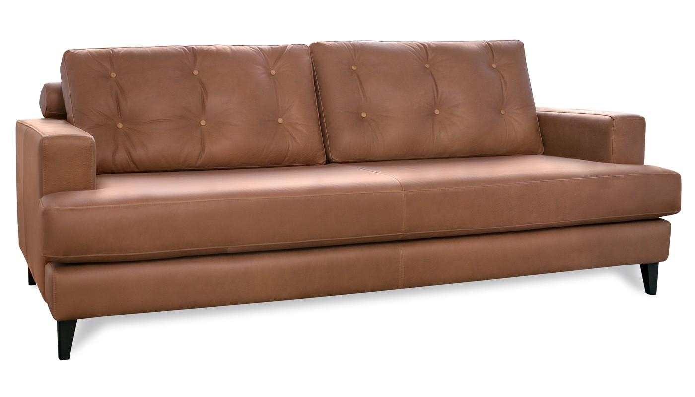 Mistral 4 Seater Sofa Leather Cognac Black Feet Intended For 4 Seat Leather Sofas (Image 14 of 20)