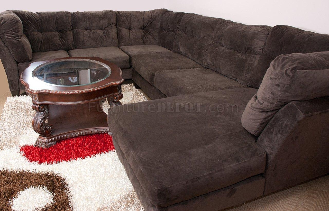 Mocha Brown Suede Fabric Modern 3Pc Sectional Sofa With Regard To Soft Sectional Sofas (View 3 of 20)