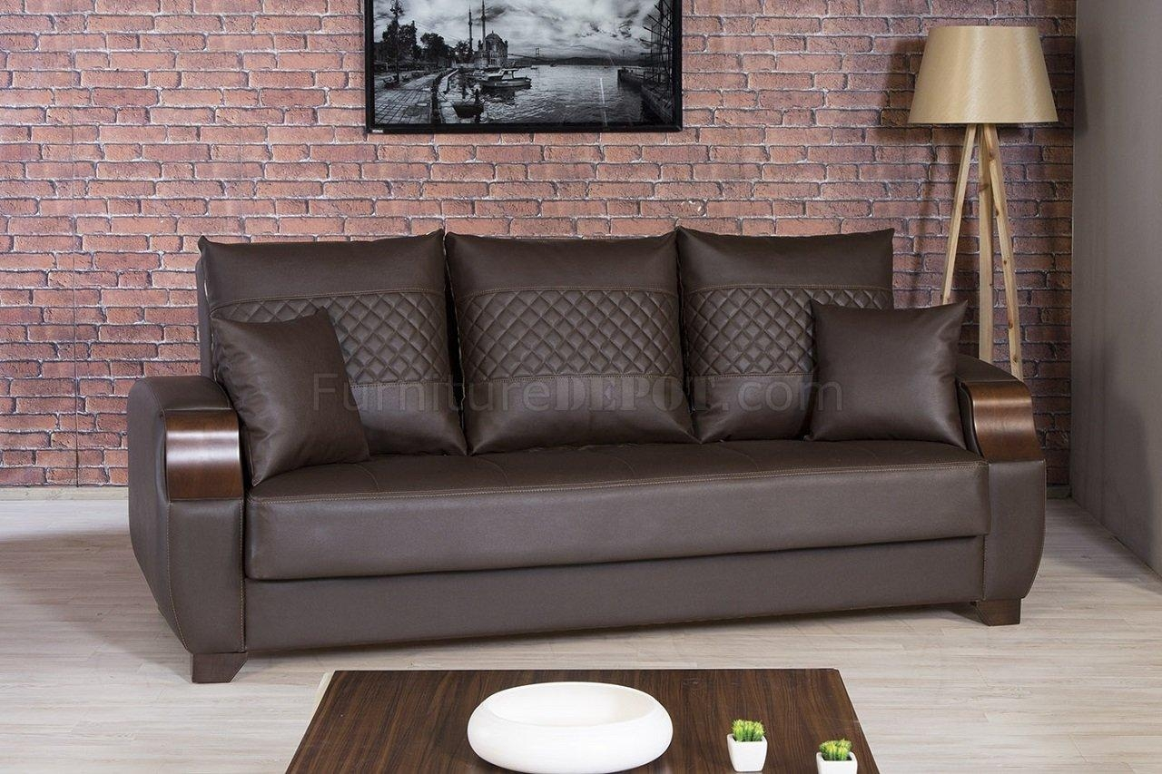 Moda Sofa Bed In Brown Leatherettecasamode W/options For Euro Sofa Beds (Image 15 of 20)