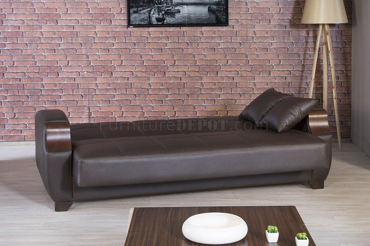 Moda Sofa Bed In Brown Leatherettecasamode W/options Intended For Euro Sofa Beds (View 7 of 20)