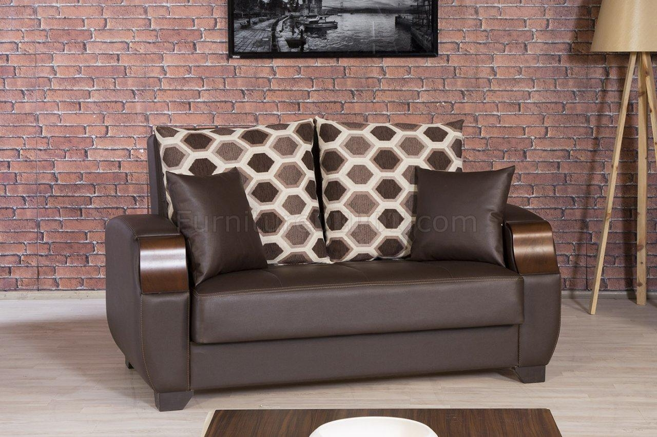Moda Sofa Bed In Brown Leatherettecasamode W/options Pertaining To Euro Sofa Beds (Image 17 of 20)