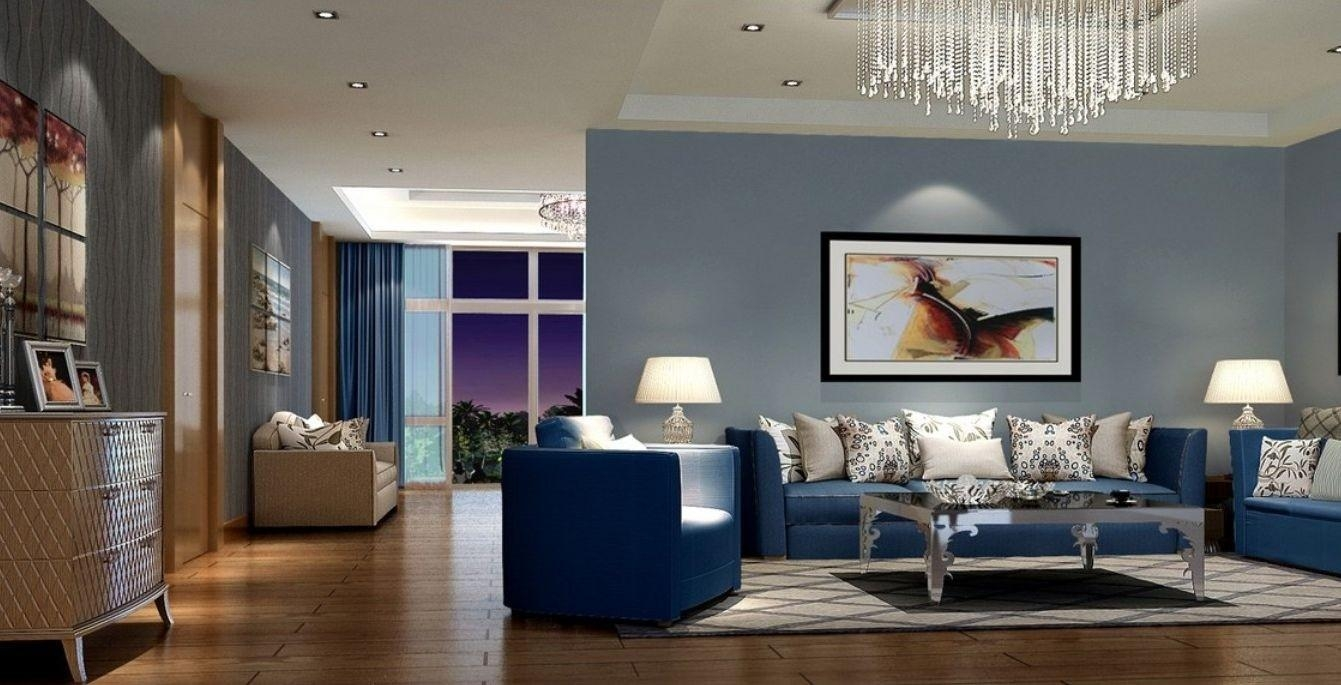 Modern And Stylish Living Room Design With Trendy Blue Sofa Throughout Living Room With Blue Sofas (Image 17 of 20)