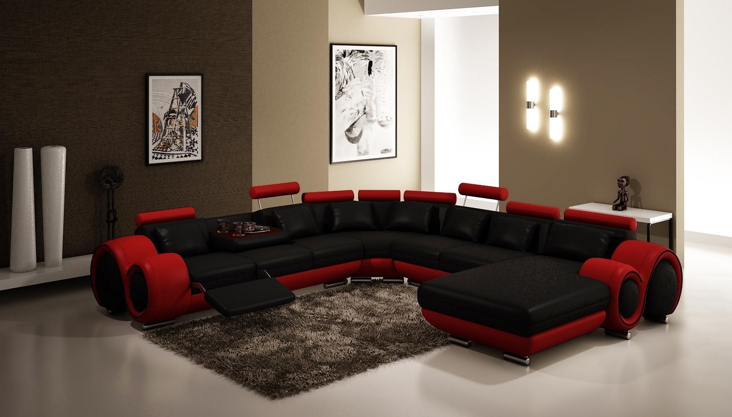 Modern Black And Red Sectional Sofa Set – Kenya For Black And Red Sofa Sets (Image 12 of 20)