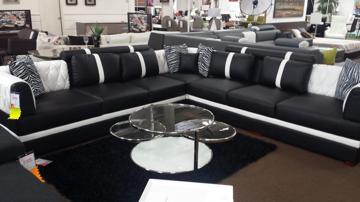 Modern Black And White Leather Sectional Sofa Pertaining To Black And White Sectional (Image 10 of 15)