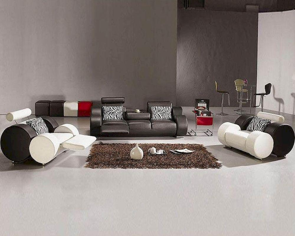Modern Black And White Leather Sofa Set 44L3088 In Black And White Leather Sofas (Image 17 of 20)
