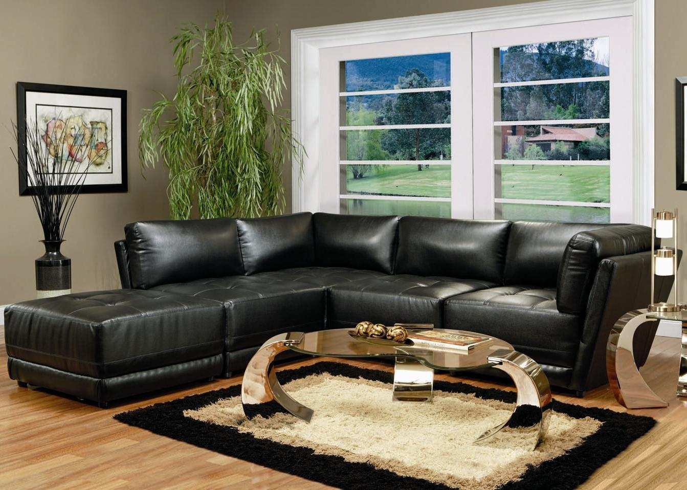 Modern Black Leather Modular Sofa Intended For Leather Modular Sectional Sofas (Image 12 of 20)