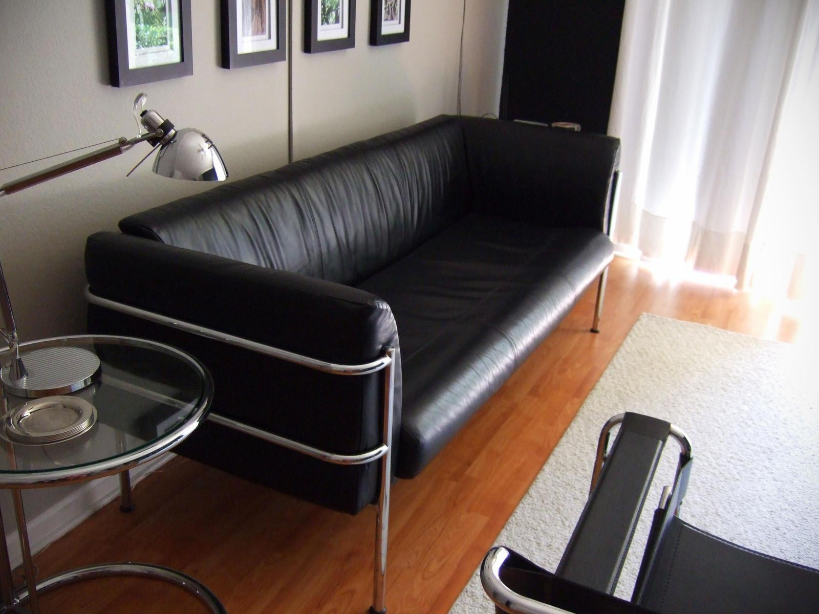 Modern Black Leather Sofa Inside Contemporary Black Leather Sofas (Image 10 of 20)