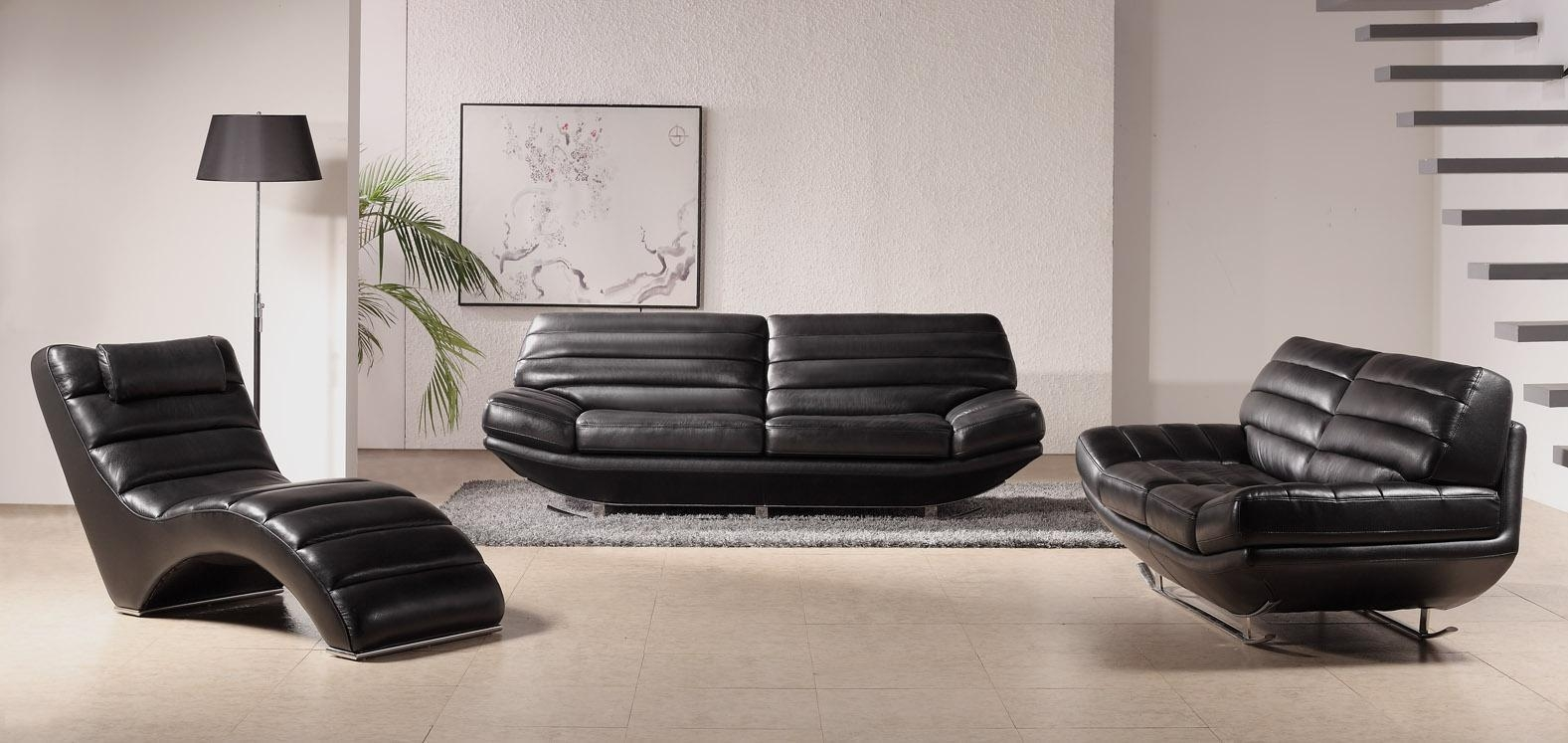 Modern Black Leather Sofa Set – S3Net – Sectional Sofas Sale Pertaining To Contemporary Black Leather Sofas (Image 11 of 20)
