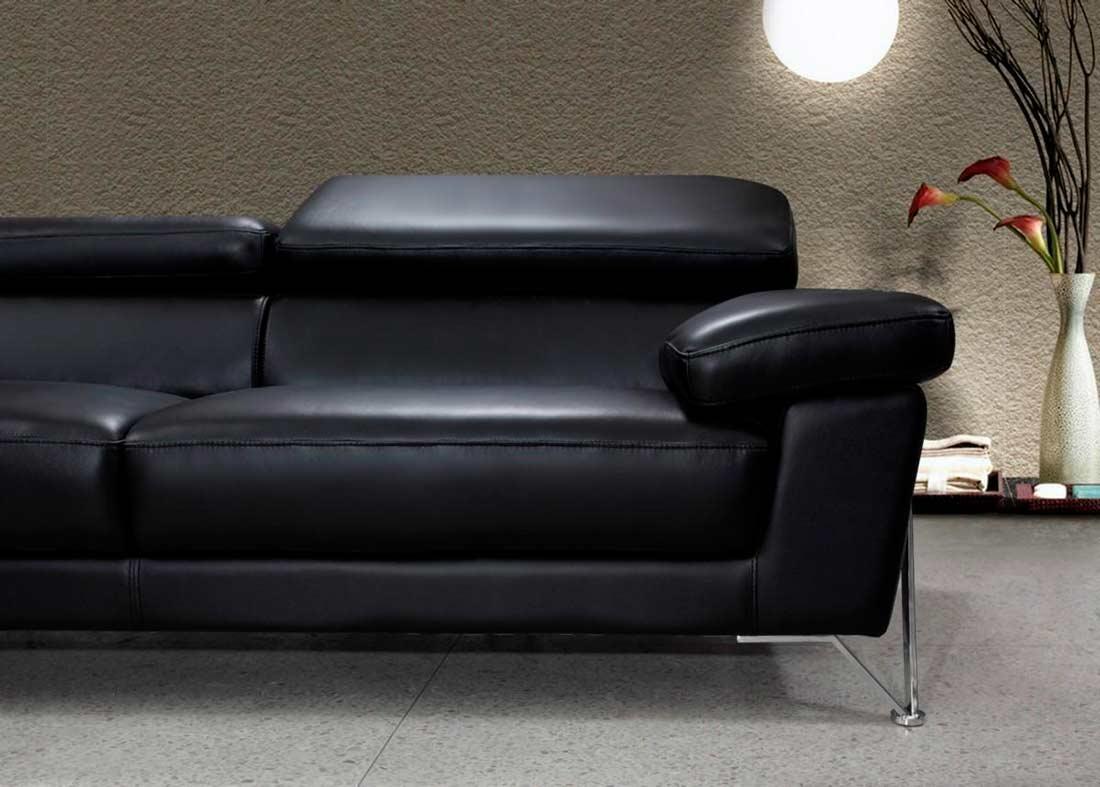 Modern Black Leather Sofa Set Vg724 | Leather Sofas Regarding Black Modern Couches (Image 14 of 20)
