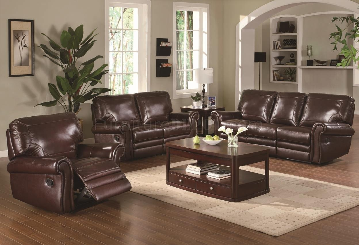 Modern Burgundy Leather Reclining Sofa & Loveseat Set For Reclining Sofas And Loveseats Sets (Image 9 of 20)