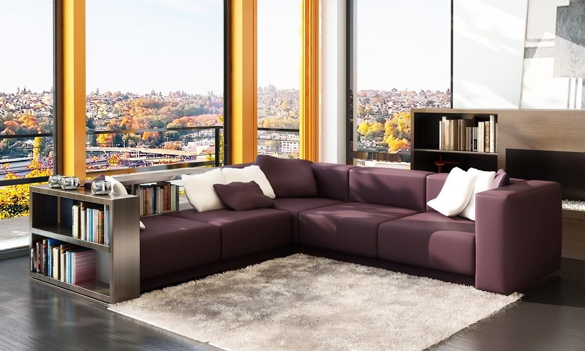 Modern Burgundy Leather Sectional W/ Book Case With Burgundy Sectional Sofas (View 9 of 20)