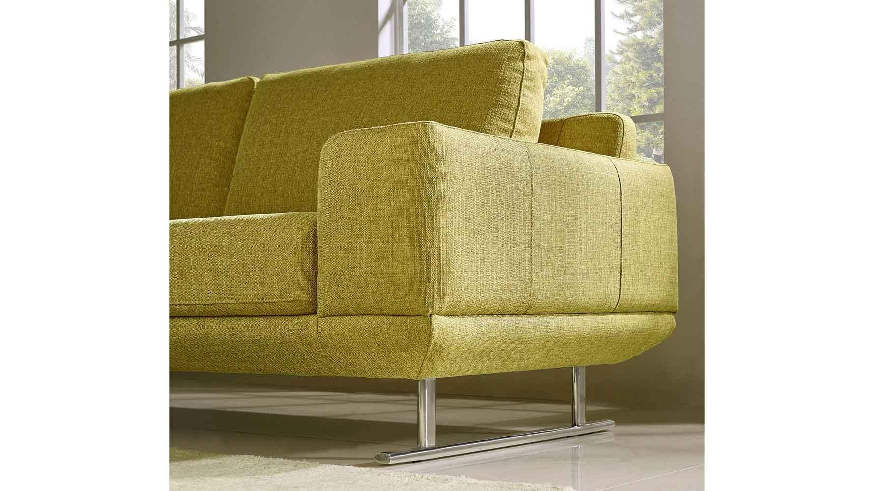 Modern Chartreuse Fabric Della Sofa And Loveseat Set | Zuri Furniture In Chartreuse Sofas (View 15 of 20)