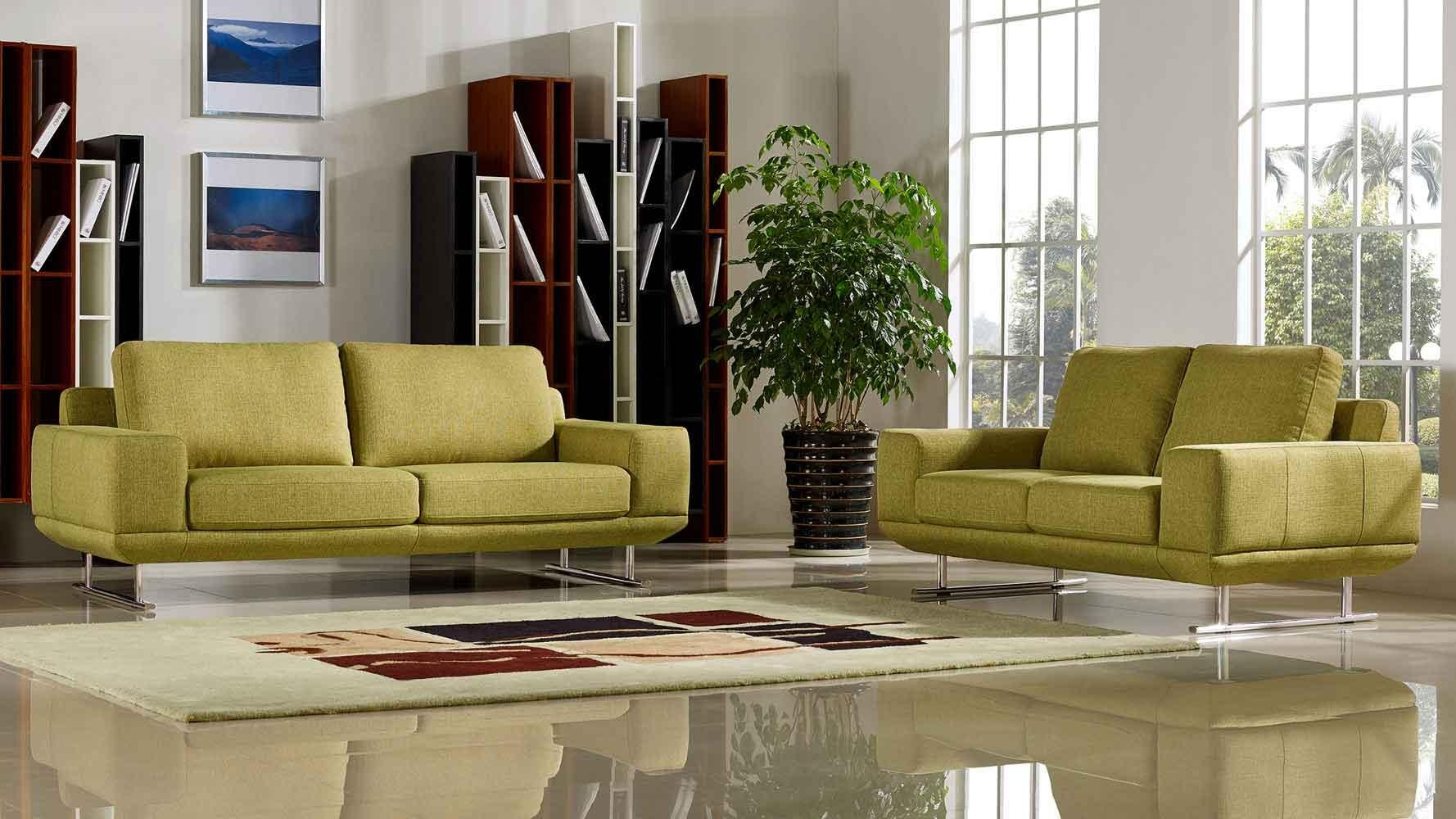 Modern Chartreuse Fabric Della Sofa And Loveseat Set | Zuri Furniture Pertaining To Chartreuse Sofas (View 3 of 20)