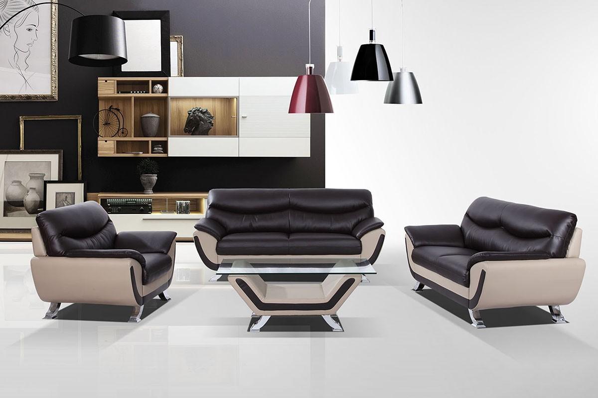 Modern Dark Brown And Grey Sofa Set Regarding Two Tone Sofas (Image 12 of 20)
