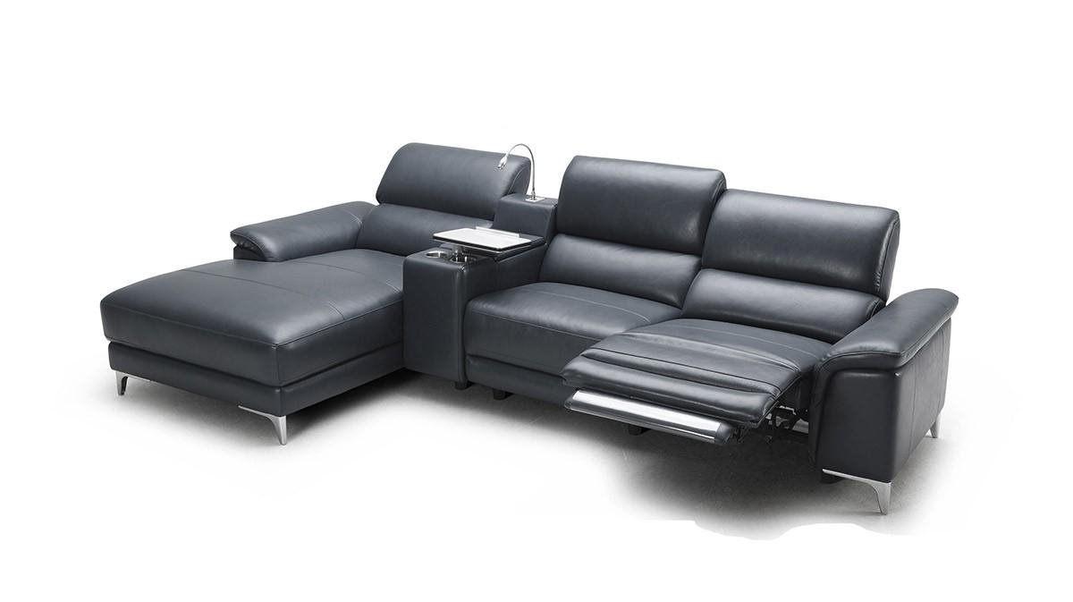 Modern Full Leather Sectional Sofa W/ Recliner Inside Modern Reclining Sectional (Image 10 of 20)