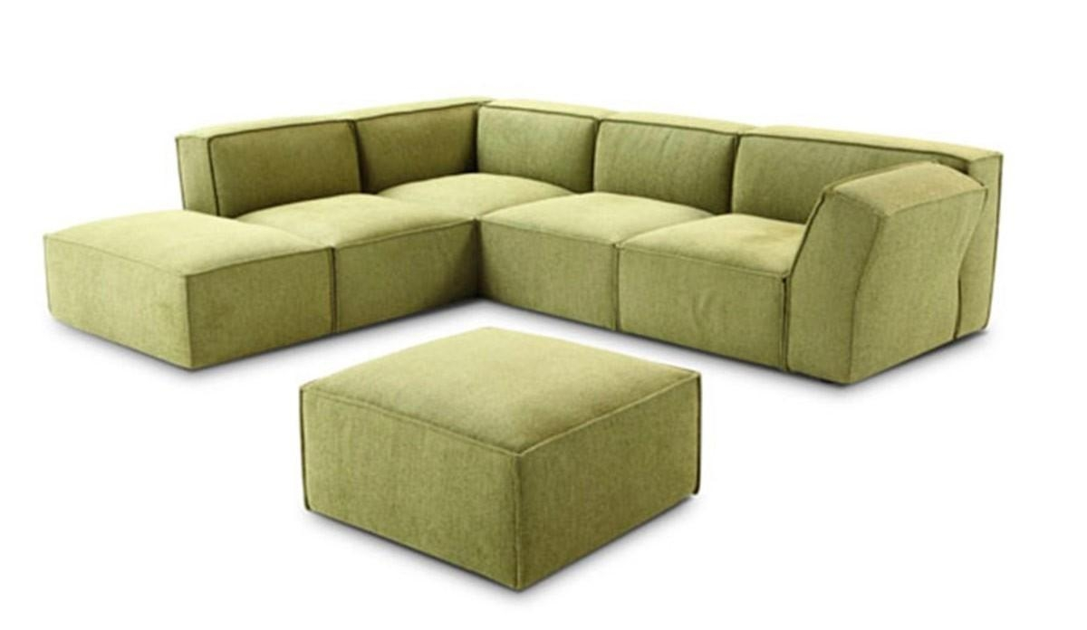 Modern Green Fabric Sectional Sofa Pertaining To Green Sectional Sofa (Image 8 of 15)