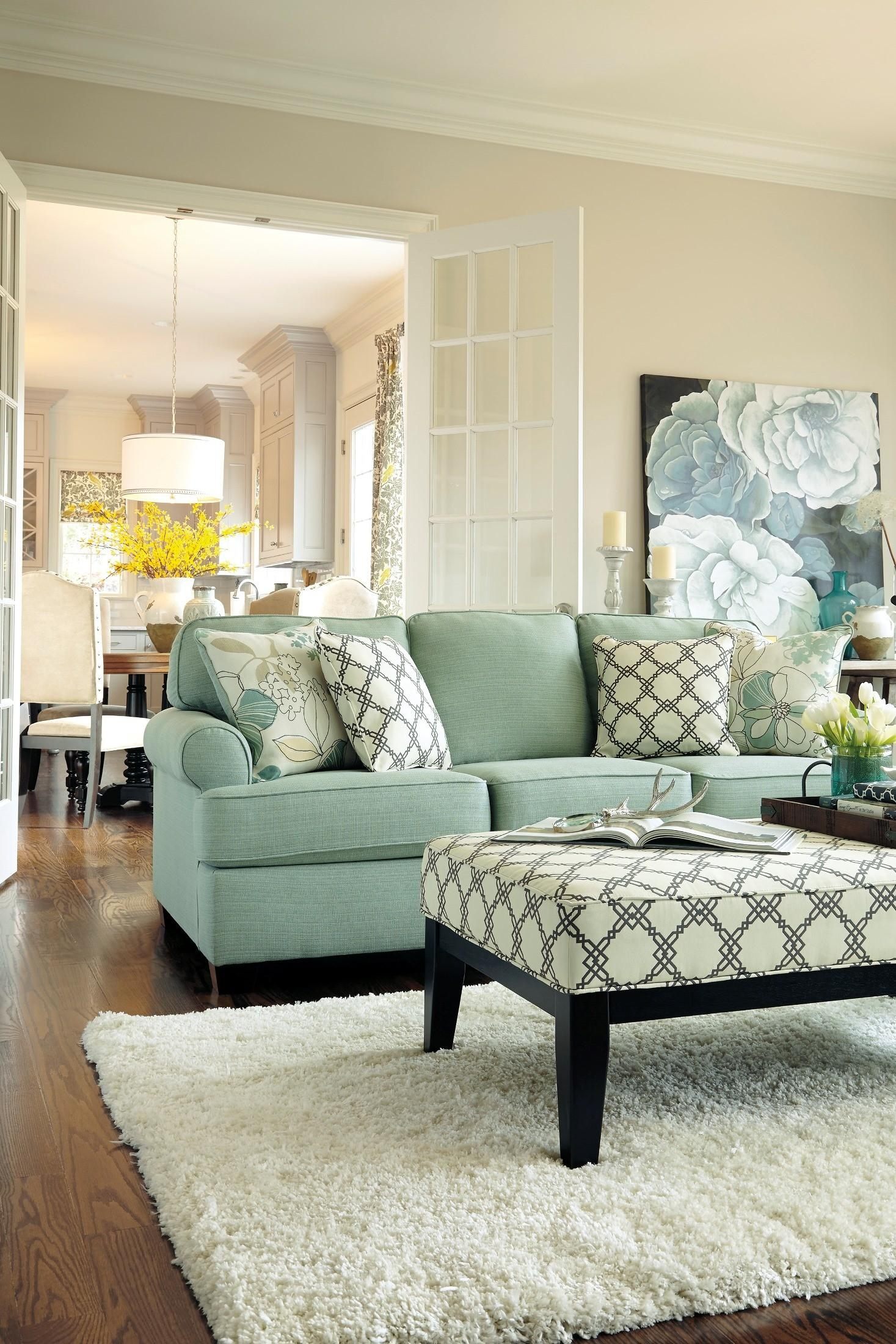 Seafoam Green Leather Sofa