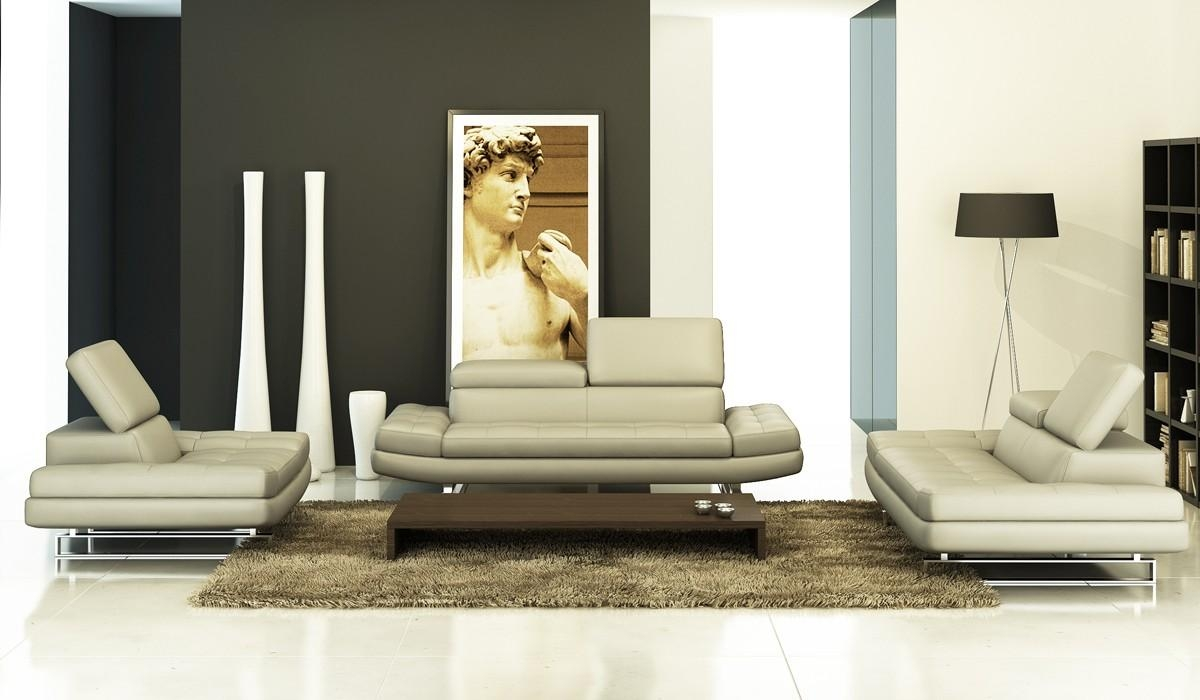 Modern Grey Italian Leather Sofa Set In Italian Leather Sofas (Image 9 of 20)