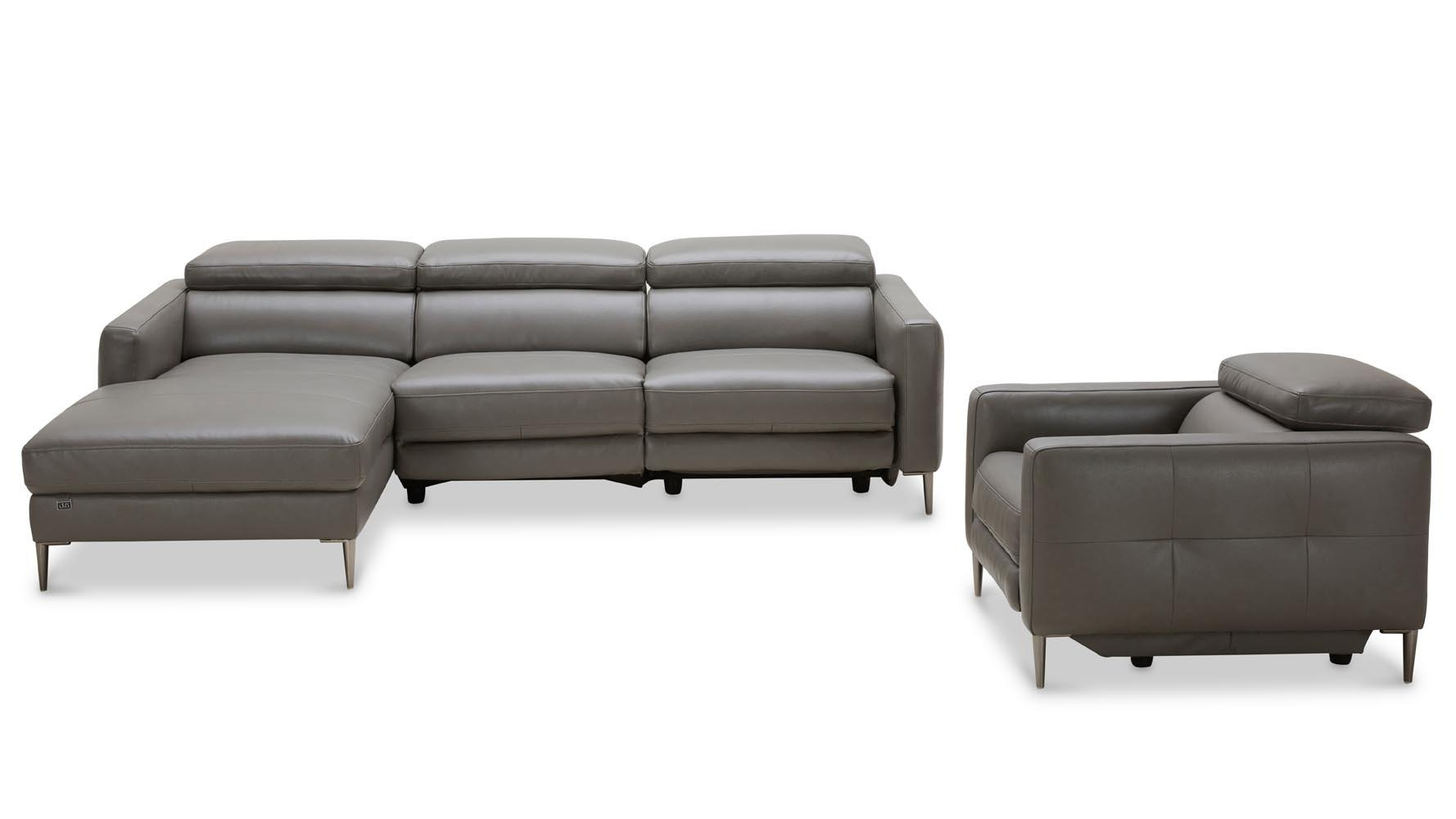 Modern Grey Leather Reno Sectional With Arm Chair | Zuri Furniture Throughout Modern Reclining Sectional (Image 11 of 20)