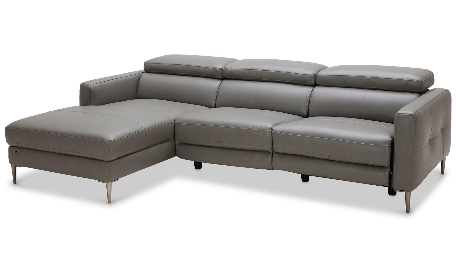 Modern Grey Leather Reno Sectional With Power Recliner Seat | Zuri For Modern Reclining Sectional (Image 12 of 20)