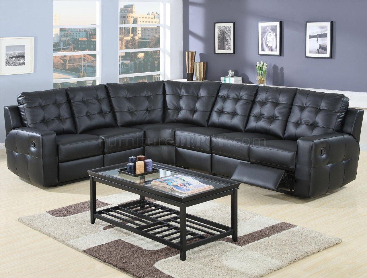 Modern Leather Double Reclining Sectional Sofa 600315 Black Inside Modern Reclining Sectional (Image 13 of 20)