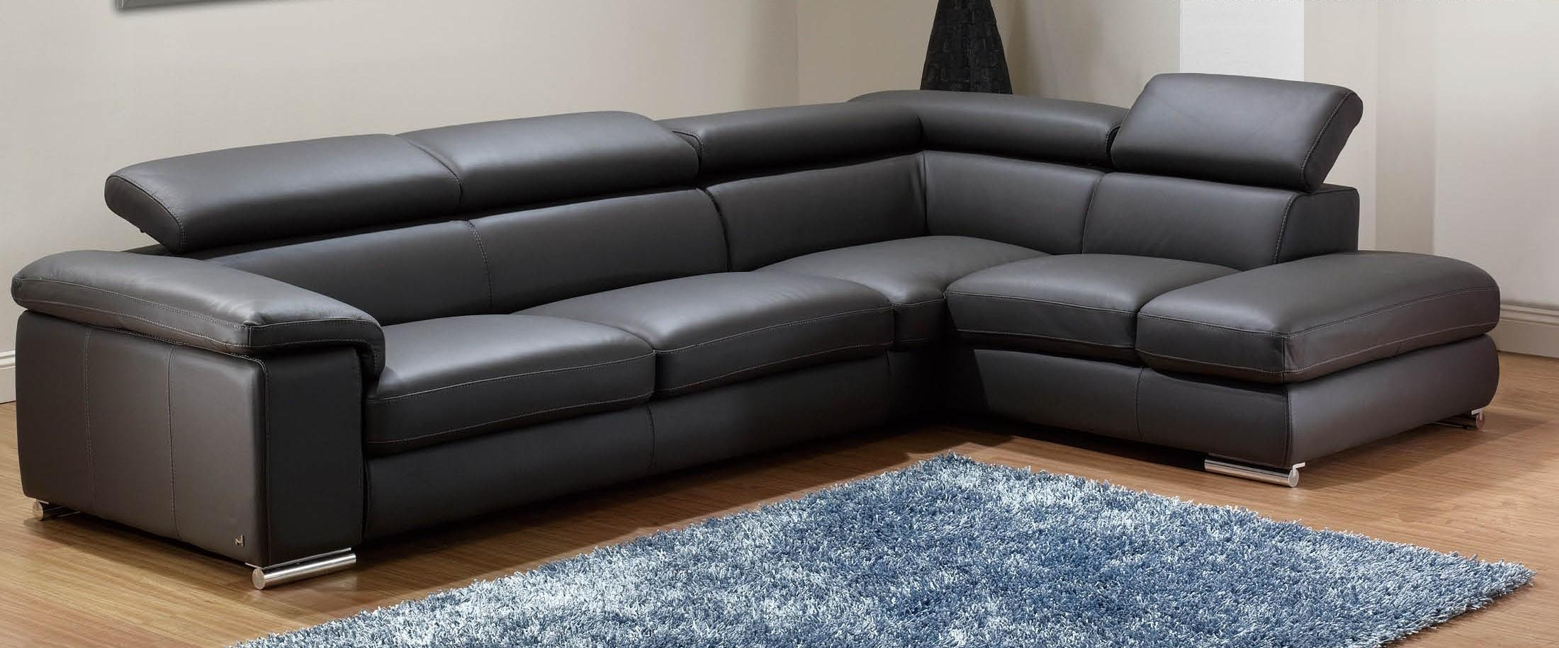 Modern Leather Sectional Recliner – Creditrestore Intended For Black Leather Chaise Sofas (Image 14 of 20)