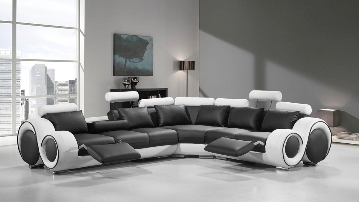 Modern Leather Sectional Sofa With Recliners Inside Black And White Sectional (View 8 of 15)