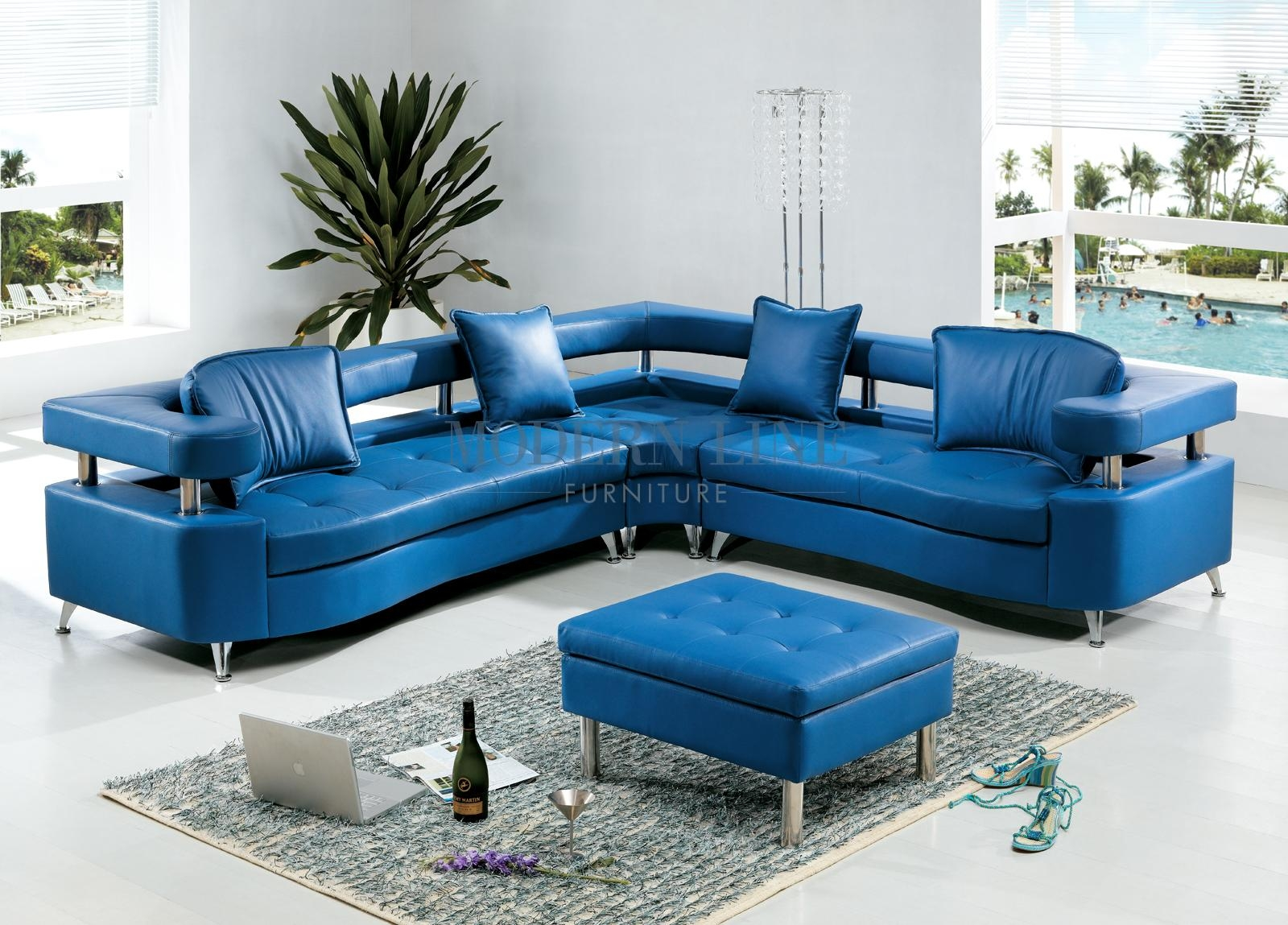 Featured Photo of Blue Leather Sectional Sofas