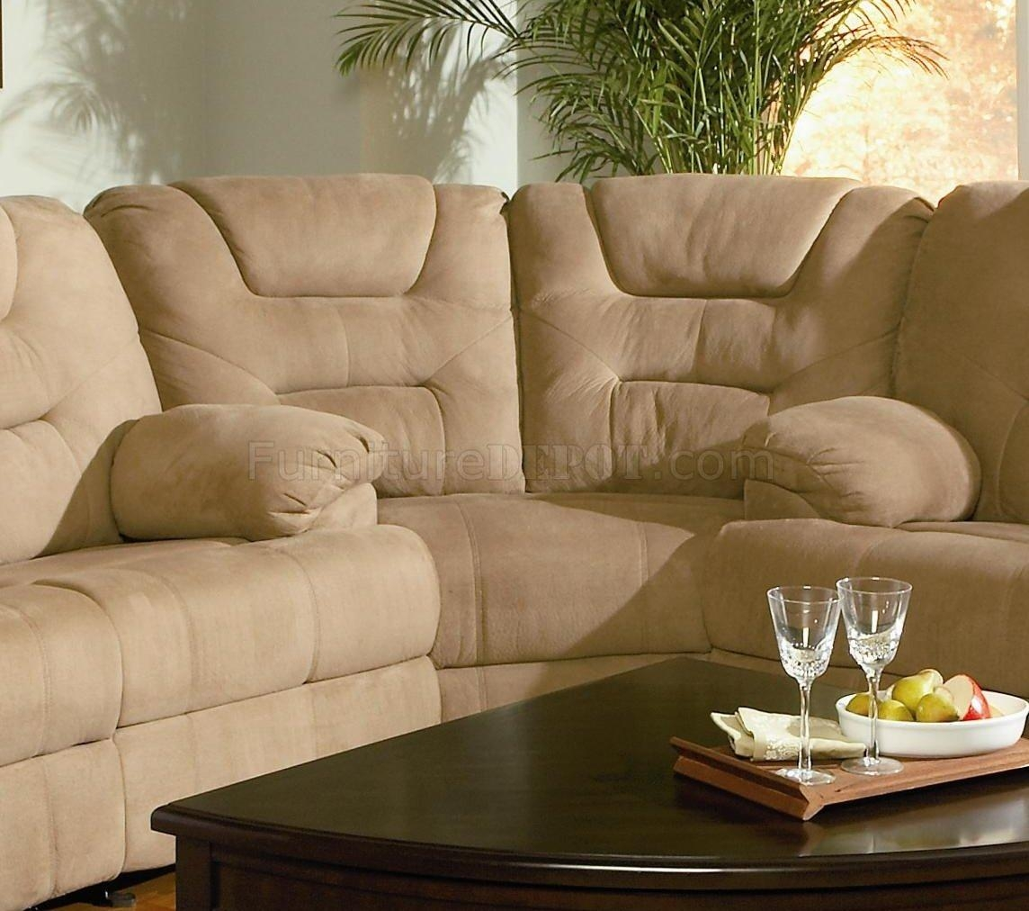 Modern Microfiber Reclining Sectional Sofa 600351 Mocha Pertaining To Sofas With High Backs (Image 12 of 20)