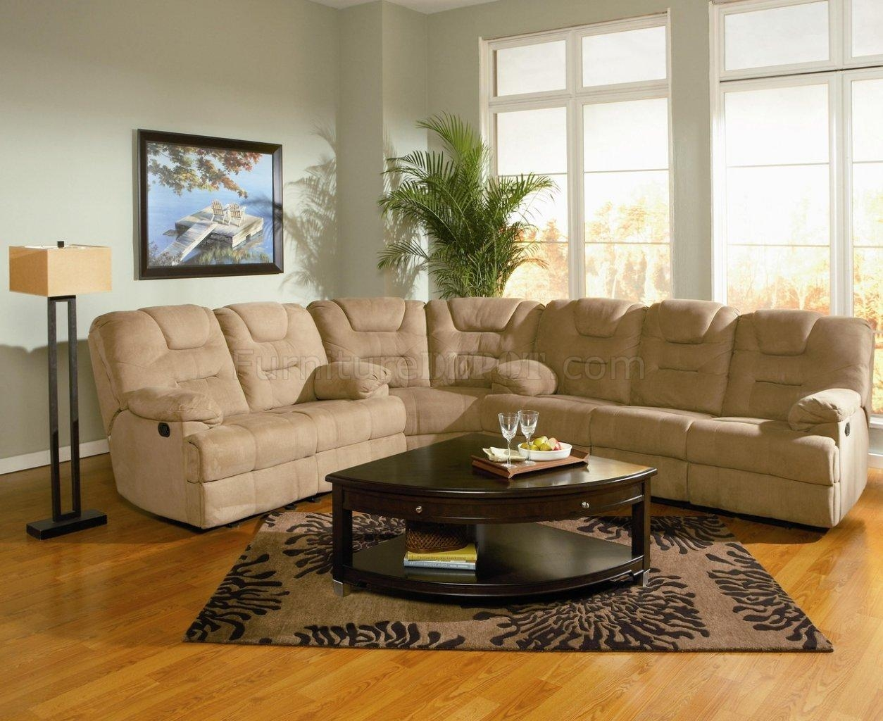 Modern Microfiber Reclining Sectional Sofa 600351 Mocha Throughout Sofas With High Backs (Image 13 of 20)