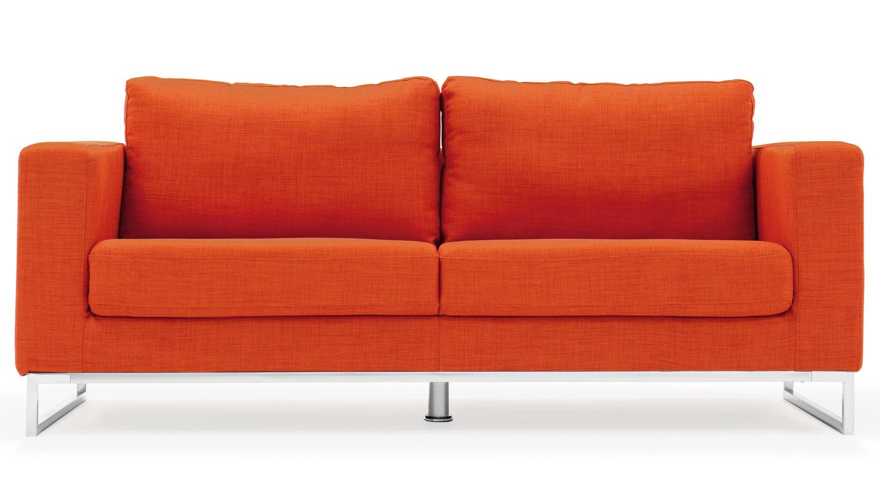 Modern Orange Fabric Upholstered 2 Piece Sofa Set With Stainless Within Orange Modern Sofas (Image 12 of 20)