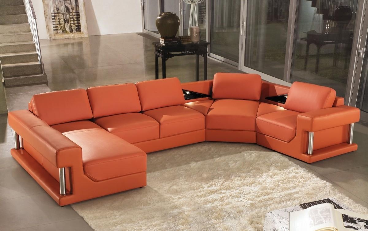 Modern Orange Leather Sectional Sofa In Orange Sectional Sofas (View 2 of 20)