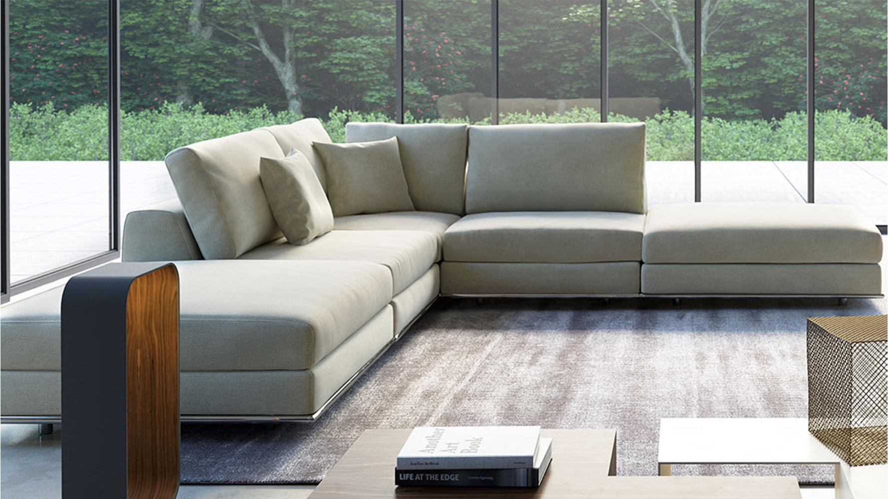 Modern Persis Armless Corner Sectional Sofa – Moonbeam   Zuri In Armless Sectional Sofas (Image 7 of 15)