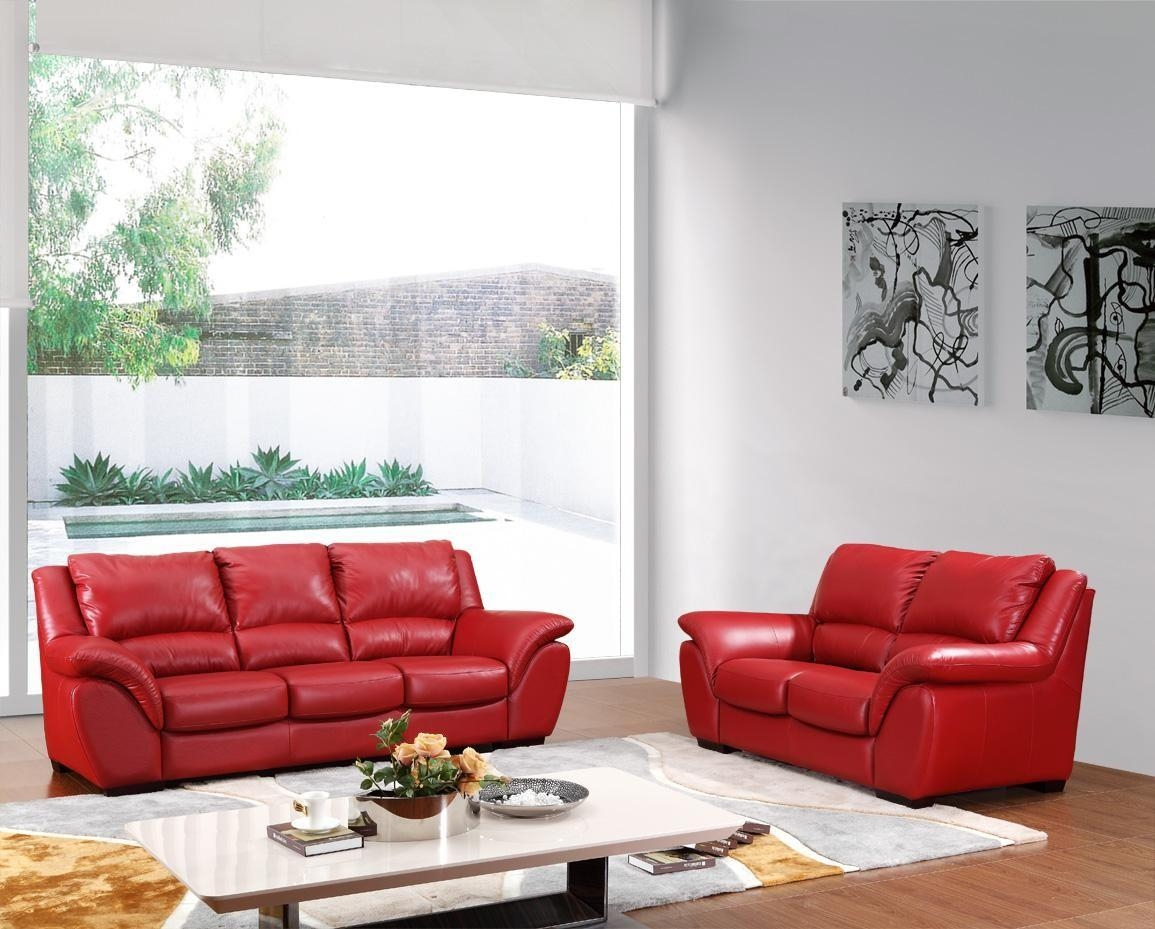 Modern Red Italian Leather Sofa Set Within Italian Leather Sofas (Image 12 of 20)
