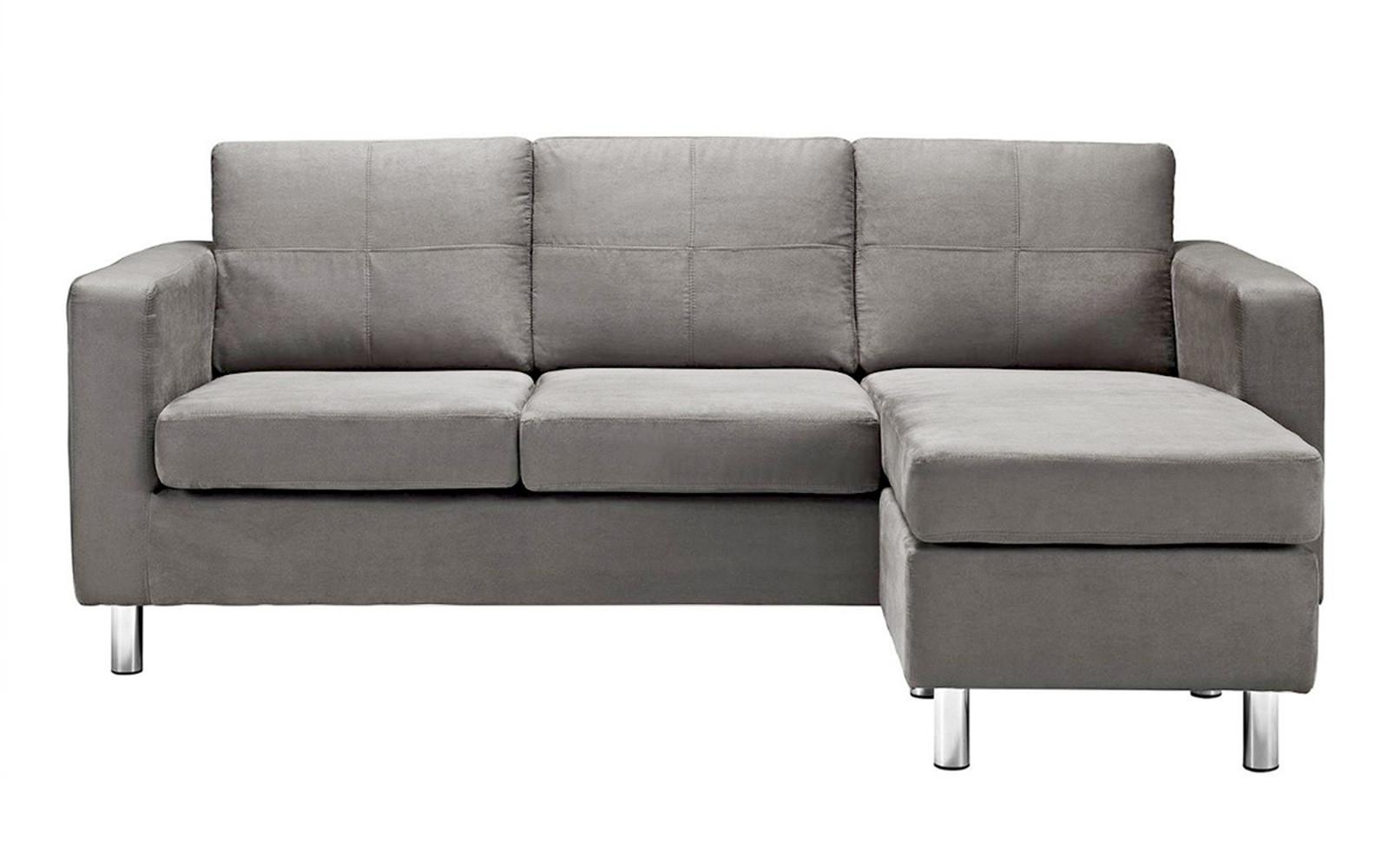 Modern Reversible Small Space Configurable Microfiber Sectional Intended For Modern Sectional Sofas For Small Spaces (Image 11 of 20)