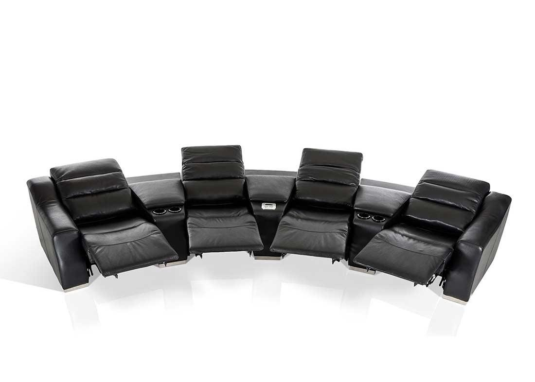 Modern Theatre Reclining Sectional Sofa | Leather Sectionals Regarding Modern Reclining Sectional (Image 15 of 20)