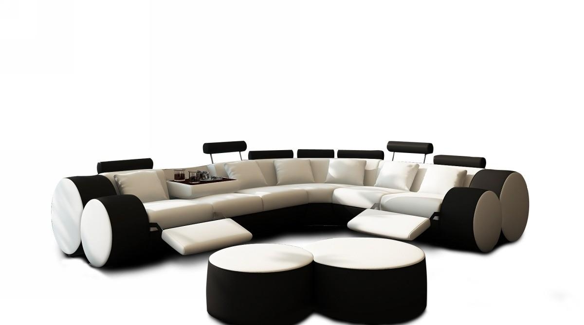 Modern White And Black Leather Sectional Sofa And Coffee Table Regarding Black And White Sectional (View 10 of 15)