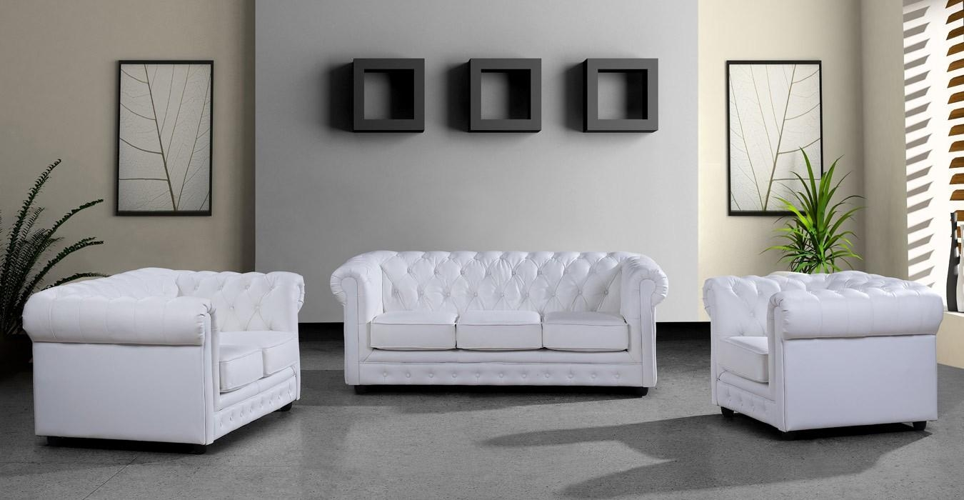 Modern White Leather Sofa Set Within White Leather Sofas (Image 7 of 20)