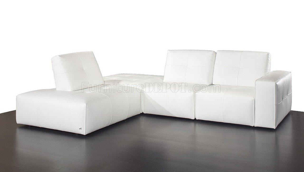 Modular Sectional Sofa In White Premium Leatherj&m Inside Leather Modular Sectional Sofas (Image 15 of 20)