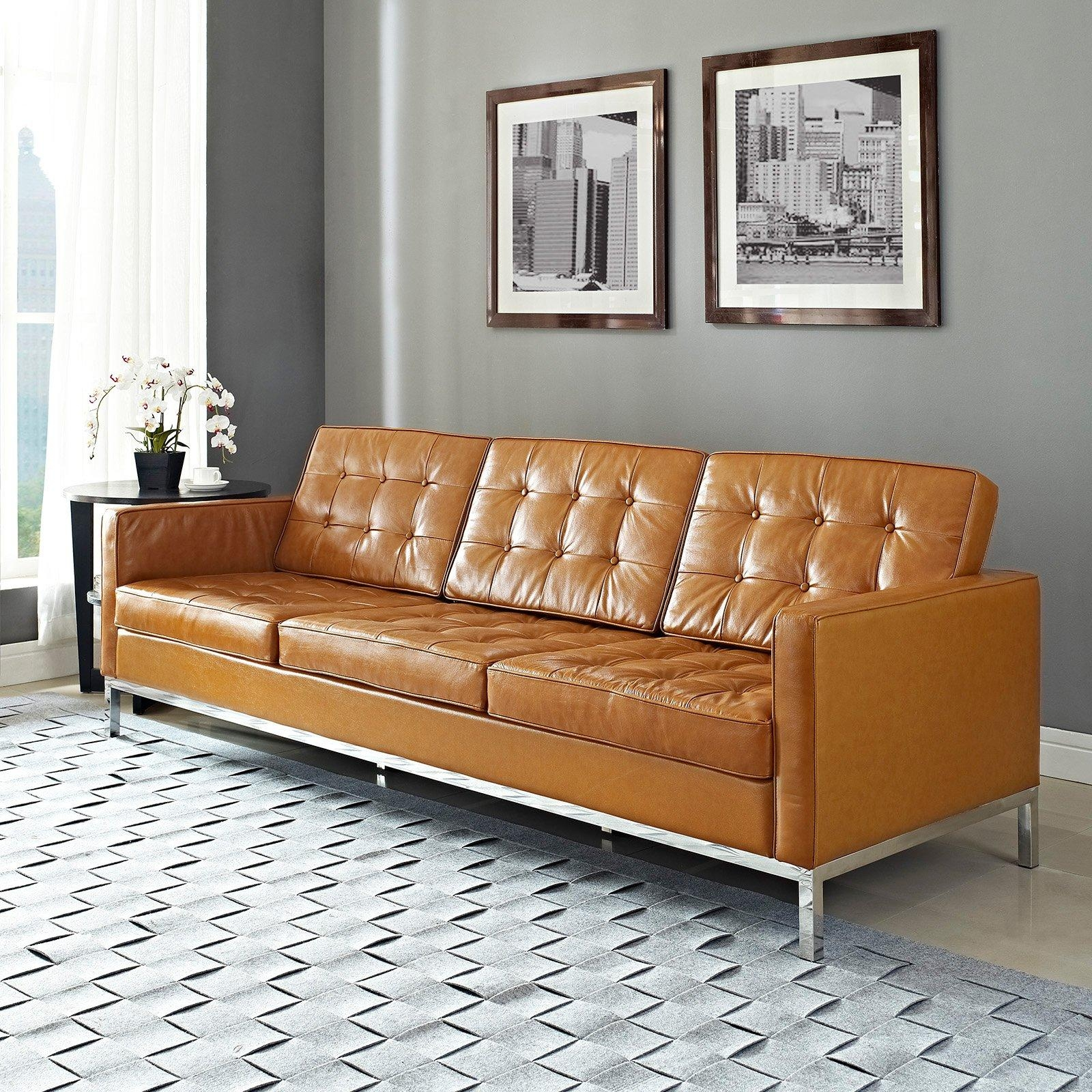 Modway Loft Leather Sofa | Hayneedle For Florence Leather Sofas (View 2 of 20)