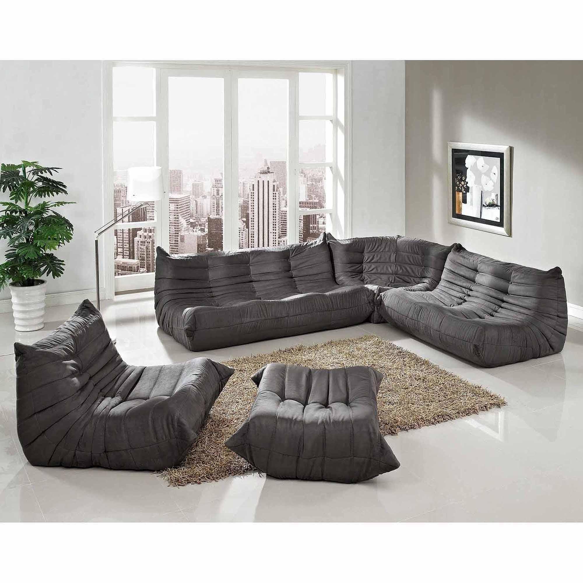 Modway Waverunner Modular Sectional Sofa Set (5 Piece) – Walmart Inside Small Modular Sectional Sofa (Image 13 of 20)