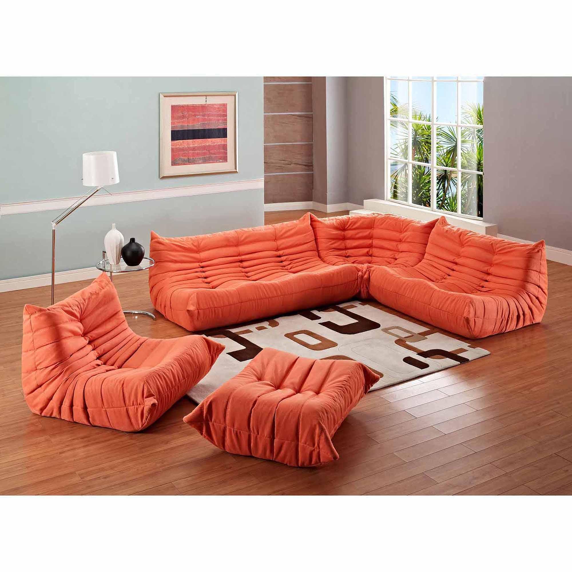 Modway Waverunner Modular Sectional Sofa Set (5 Piece) – Walmart Intended For Orange Sectional Sofas (Image 17 of 20)