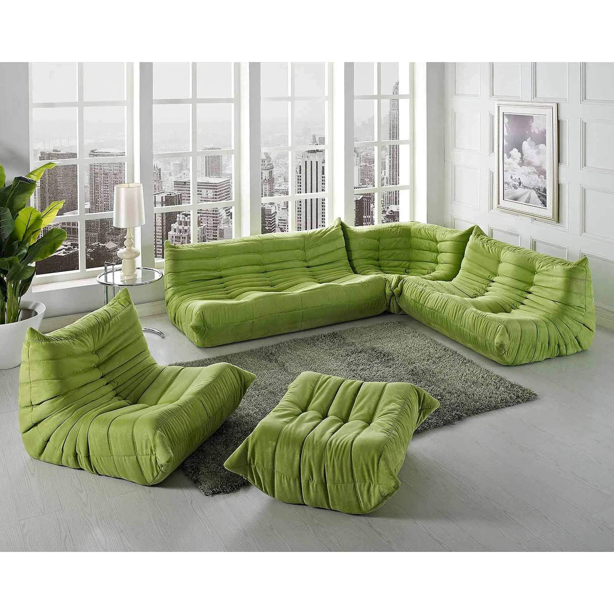 Modway Waverunner Modular Sectional Sofa Set (5 Piece) – Walmart With Green Leather Sectional Sofas (Image 15 of 20)