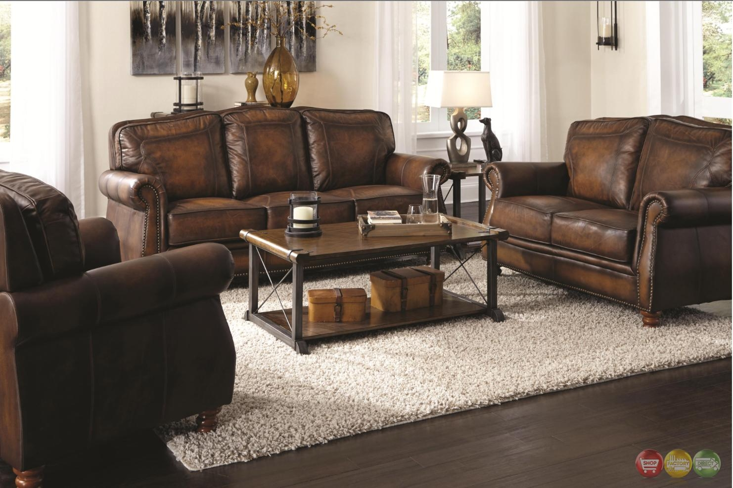 Traditional brown leather sofa homelegance midwood bonded for Traditional leather furniture