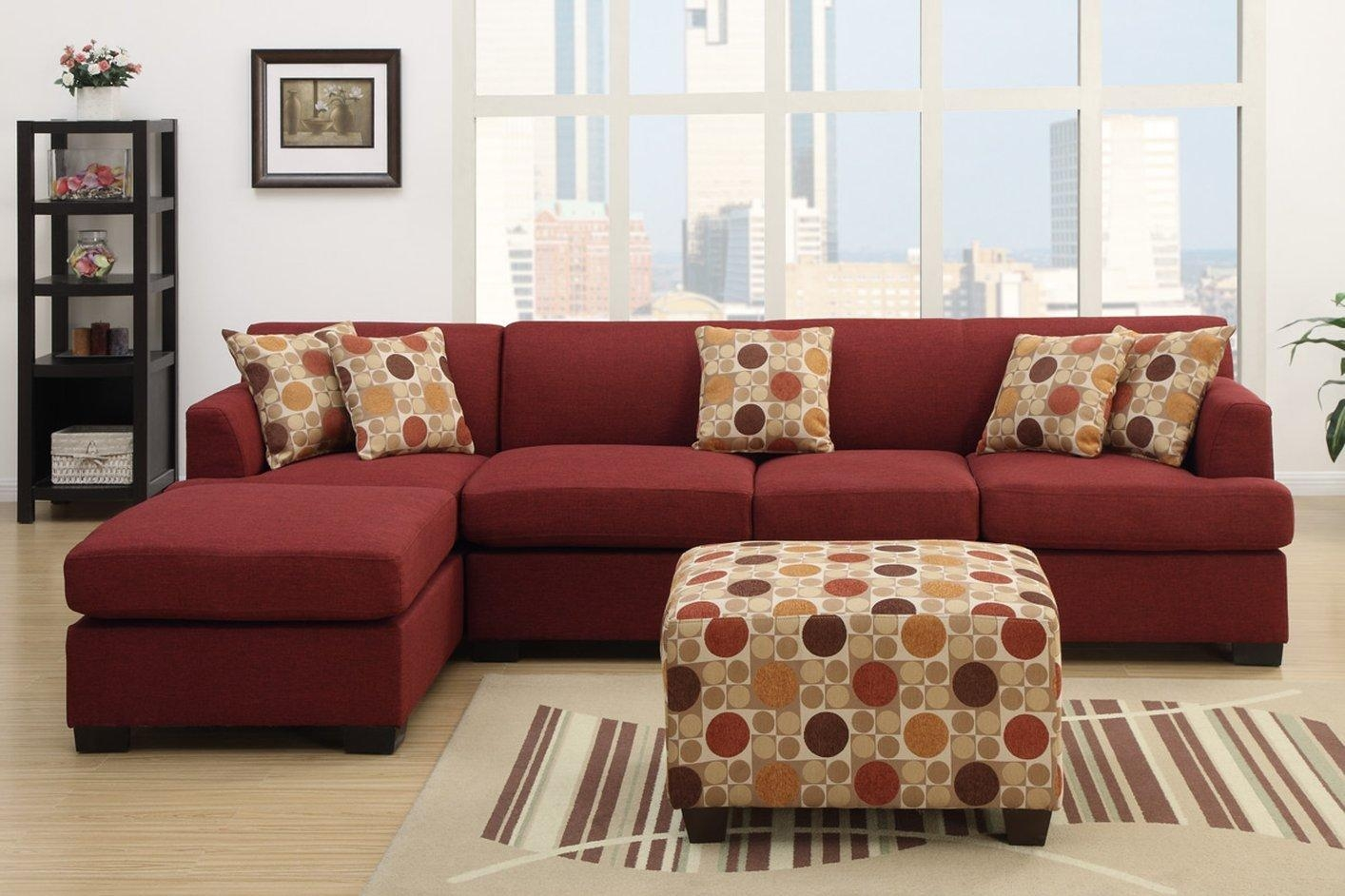 Montreal Iv Red Fabric Sofa – Steal A Sofa Furniture Outlet Los With Regard To Red Sofa Chairs (Image 12 of 20)